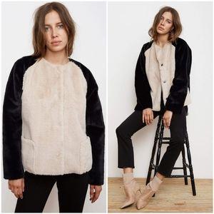 $257 Velvet by Graham & Spencer Jacket Fur Coat XS